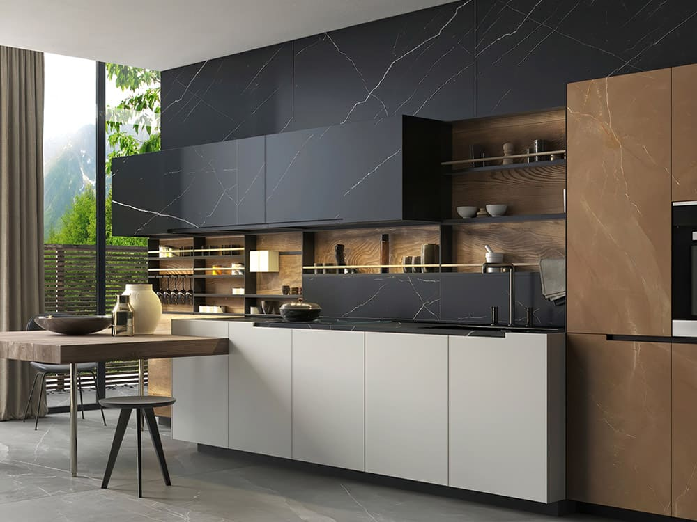 Custom interior kitchen and tile work with cabinetry